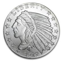 1/2 oz Silver Round - Incuse Indian #21632v3