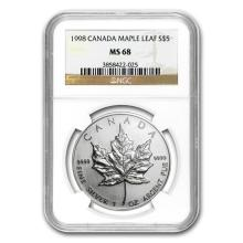1998 Canada 1 oz Silver Maple Leaf MS-68 NGC #22005v3