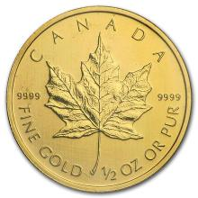 2010 Canada 1/2 oz Gold Maple Leaf BU #22934v3
