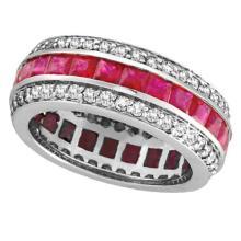 Princess Ruby and Diamond Eternity Ring 14k White Gold (5.70ctw) #51934v3