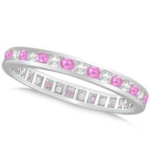 Pink Sapphire and Diamond Channel Set Eternity Band 14k W. Gold (1.04ct) #51943v3