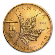 2008 Canada 1 oz Gold Maple Leaf BU (Vancouver Olympics) #22933v3