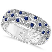 Blue Sapphire Milgrain Eternity Band 14k White Gold (0.38ct) #51963v3