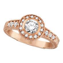 Antique Style Halo Diamond Ring Bezel Set 14K Rose Gold (0.80ct) #51996v3