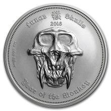 2016 Palau 1 oz Silver Lunar Skulls Year of the Monkey #21692v3