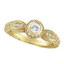 Venetian Style Diamond Bezel Ring 14K Yellow Gold (0.40 ct) #51992v3
