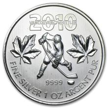2010 Canada 1 oz Silver Olympic Hockey BU #21974v3