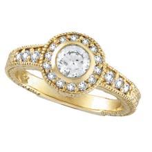 Antique Style Halo Diamond Ring Bezel Set 14K Yellow Gold (0.80ct) #51997v3
