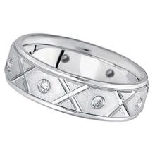 Men's Burnished Diamond Wedding Band in 18k White Gold (0.40ct) #51785v3