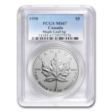 1998 Canada 1 oz Silver Maple Leaf MS-67 PCGS #21998v3