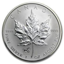 2002 Canada 1 oz Silver Maple Leaf Lunar HORSE Privy #21990v3