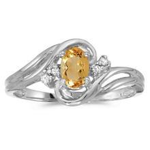 Citrine and Diamond Swirl Ring in 14k White Gold (0.50ctw) #52107v3