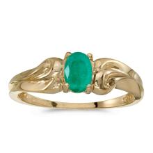 Certified 14k Yellow Gold Oval Emerald Ring #25477v3