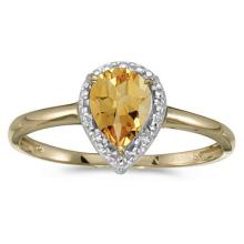 Pear Shape Citrine and Diamond Cocktail Ring 14k Yellow Gold #52104v3
