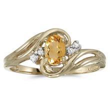 Citrine and Diamond Swirl Ring in 14k Yellow Gold (0.50ctw) #52108v3