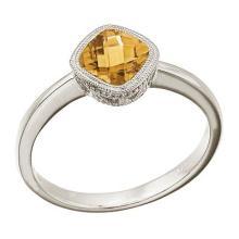 Cushion-Cut Citrine Right Hand Ring in 14K White Gold (6mm) #52038v3
