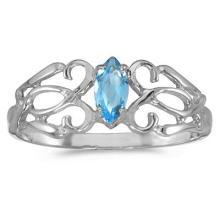 Marquise Blue Topaz Filigree Ring Antique Style 14k White Gold #52199v3