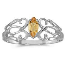 Marquise Citrine Filigree Ring Antique Style 14k White Gold #52099v3