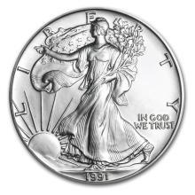 1991 1 oz Silver American Eagle BU #21394v3