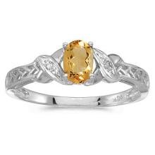 Oval Citrine and Diamond Antique Style Ring in 14K White Gold (0.45ct) #52097v3