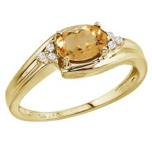 Oval Citrine and Diamond Cocktail Ring 14k Yellow Gold (7x5mm) #52086v3