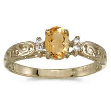 Citrine and Diamond Filigree Ring Antique Style 14k Yellow Gold #52106v3