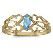 Marquise Blue Topaz Filigree Ring Antique Style 14k Yellow Gold #52200v3