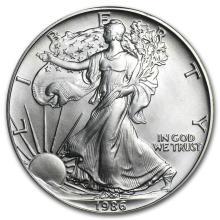 1986 1 oz Silver American Eagle BU #21397v3