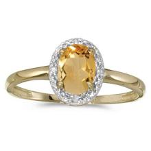 Oval Citrine and Diamond Cocktail Ring in 14K Yellow Gold (0.80ct) #52096v3