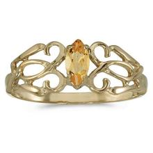 Marquise Citrine Filagree Ring Antique Style 14k Yellow Gold #52100v3