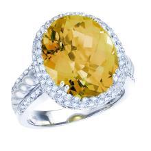 Certified 14k White Gold Oval Citrine And Diamond Ring #25409v3