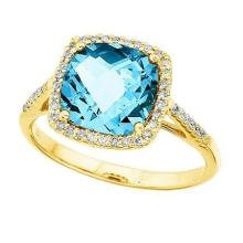 Cushion-Cut Blue Topaz and Diamond Cocktail Ring 14k Yellow Gold (3.7ct) #52192v3