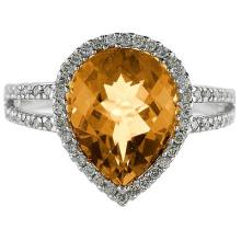 Pear Shaped Citrine and Diamond Cocktail Ring 14k White Gold #52062v3