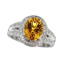 Certified 14k White Gold Large Citrine And Diamond Ring #25450v3