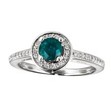 Certified 14k White Gold Emerald and Diamond Double Circle Ring #25449v3