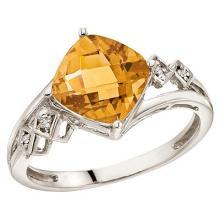 Cushion Cut Citrine and Diamond Cocktail Ring 14k White Gold (8mm) #52087v3