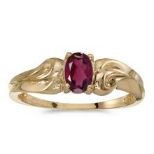 Certified 14k Yellow Gold Oval Rhodolite Garnet Ring #25501v3