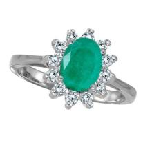 Lady Diana Oval Emerald and Diamond Ring 14k White Gold (1.50 ctw) #52237v3