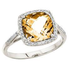 Cushion Cut Citrine and Diamond Cocktail Ring 14k White Gold (3.70cttw) #52089v3