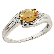 Oval Citrine and Diamond Cocktail Ring 14k White Gold (7x5mm) #52085v3