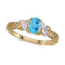 Blue Topaz and Diamond Antique Style Ring in 14K Yellow Gold (0.57ct) #52198v3