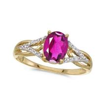 Oval Pink Topaz and Diamond Cocktail Ring 14K Yellow Gold (1.62tcw) #52169v3