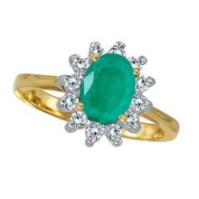 Lady Diana Oval Emerald and Diamond Ring 14k Yellow Gold (1.50 ctw) #52238v3