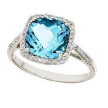 Cushion-Cut Blue Topaz and Diamond Cocktail Ring 14k White Gold (3.70ct) #52191v3