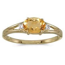 Oval Citrine and Diamond Right-Hand Ring 14K Yellow Gold (0.45ct) #52046v3