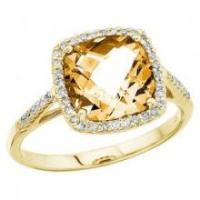Cushion Cut Citrine and Diamond Cocktail Ring 14k Yellow Gold (3.70cttw) #52090v3