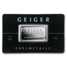 20 gram Silver Bar - Geiger Edelmetalle (Mirror Finish/In Assay) #21897v3