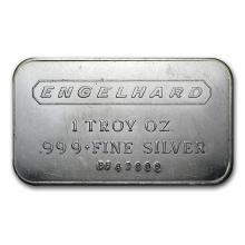 1 oz Silver Bar - Engelhard (Wide Logo, 5-digit, Frosted Back) #21870v3