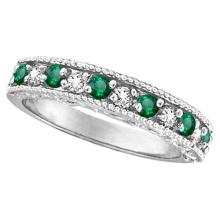 Designer Diamond and Emerald Ring Band in 14k White Gold (0.59 ctw) #52112v3