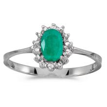 Certified 14k White Gold Oval Emerald And Diamond Ring #51284v3